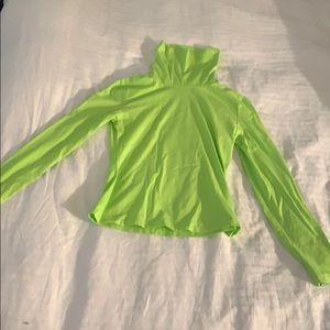 SHEIN neon green spandex crop turtle neck